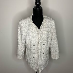 Doncaster White and Gray Boucle Tweed Blazer
